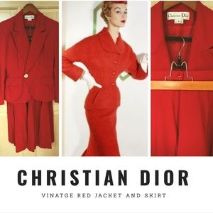 Christian Dior Vintage Red Women's Suit